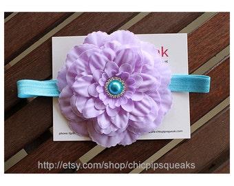 Lavender and Turquoise Headband, Baby Headband, Toddler Headband, Newborn Headband, Lavender Flower Headband, Kids Headband, Baby Gift