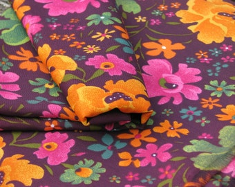 Vintage 80's colorful acetate silk fabric, floral ornament, orange pink brown -  3 Yard.