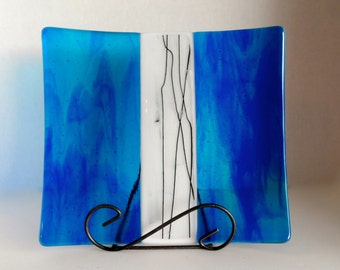Fused Glass Plate or Platter - Blue Streaky, White with Black Stringer