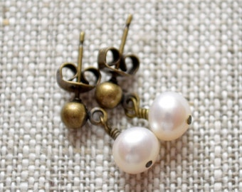 White Pearl Drop Earrings, Antiqued Brass Stud Posts, Wire Wrapped Freshwater, Bridal, Dark Bronze, Rustic Wedding Jewelry