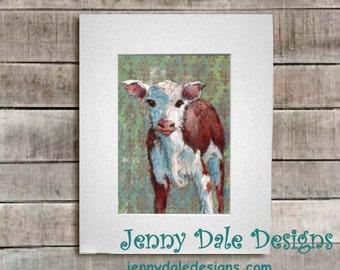 Baby Calf: hand signed art print