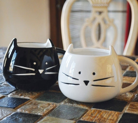 CUSTOM TEXT - Cute Cat Mug - White / Black - Hand written Mug - Personalize with your custom text -12 oz - Adorable Cat Mug - Tickled Teal