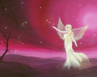 """Limited angel art photo """"the tree that makes the stars"""" , modern angel painting, artwork, perfect also for picture frame"""