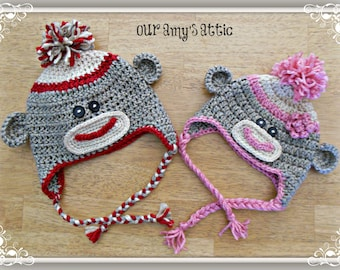 Sock Monkey Beanie, Baby Sock Monkey Hat