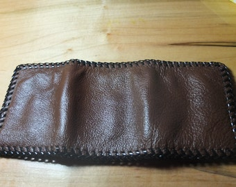 Handmade Leather Trifold Wallet (in Dark or Light Brown) Made in USA FREE SHIPPING
