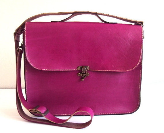 Items Similar To Magenta Pink Leather Laptop Bag Fuchsia