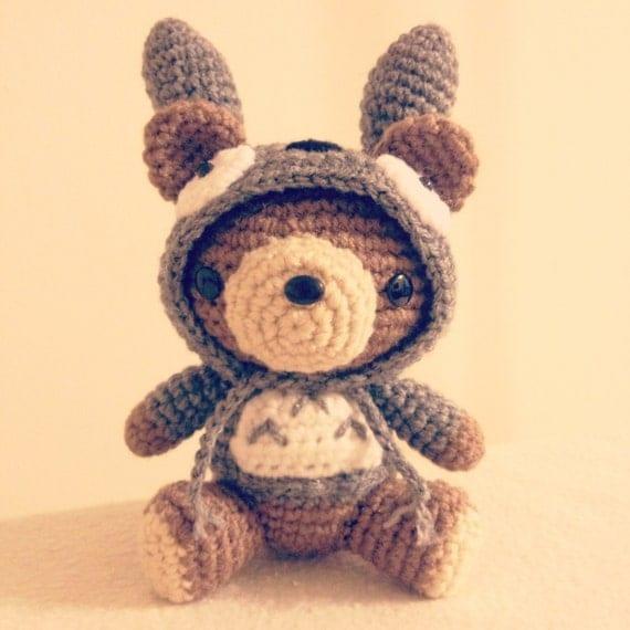 Amigurumi Ninja Turtles Pattern : Totoro Costume Hoodie Bear PDF Amigurumi Crochet pattern