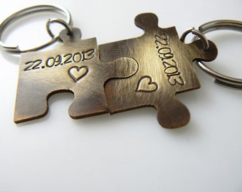 Puzzle keychain, set of 2, Valentine's Day, hand stamped, his and hers set, couple set, boyfriend girlfriend jewelry