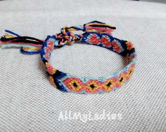 Brazilian bracelet yellow, orange, light blue, dark blue, black