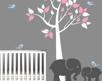 Wall Decal for Nursery with Colorful Tree and Cute Elephants