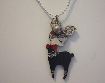 Wooden Reindeer Sweater Pendant Necklace