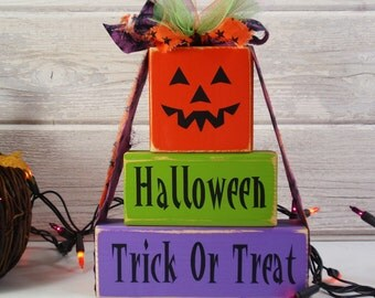 3- Block Stack- Halloween Stack- Jack O Lantern Halloween Trick Or Treat Hand Painted Wooden Blocks-Country Decor-Shabby-Baby Gift