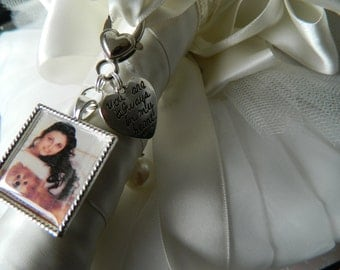 Wedding  Bouquet Photo Charm -Photo included- Brides keepsake -Heart Charm-Keepsake Boxed