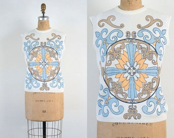 VINTAGE 1970s art deco sleeveless blouse | Psychedelic mandala hippie tank