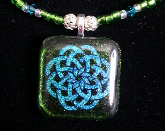 Beaded Aventurine Green/Blue Dichroic Fused Glass Celtic Knot Necklace