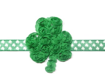 St. Patrick's Day Green and White Shamrock Baby/Infant/Newborn Headband, Makes Great Photo Prop