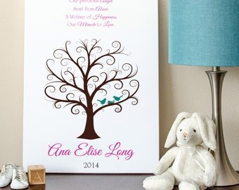 Baby Shower Fingerprint Tree -  16x20 - Guest Book Tree - NB - 110-190 Fingerprints
