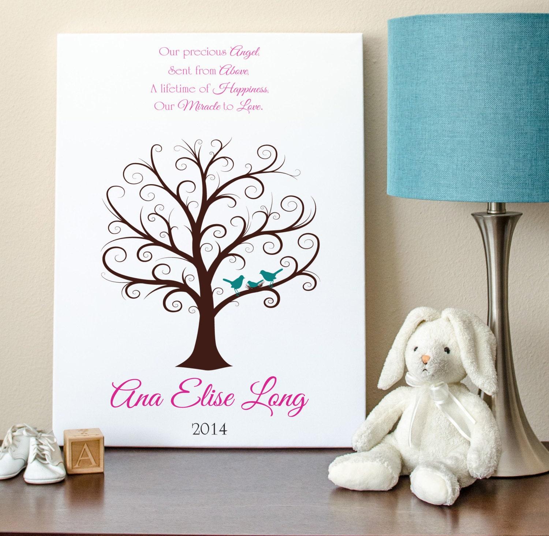 baby shower fingerprint tree 16x20 guest book tree nb