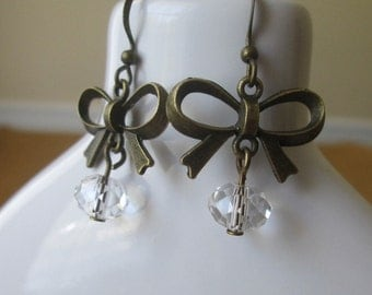 Antique Bronze Bow Swarovski Crystal Earrings by The Darling Duck