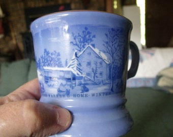 vintage Currier & Ives mug,  set of four white and blue