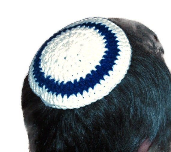 Crochet Patterns For Yarmulke : FREE SHIPPING White & Blue Crochet Yarmulke Kippah