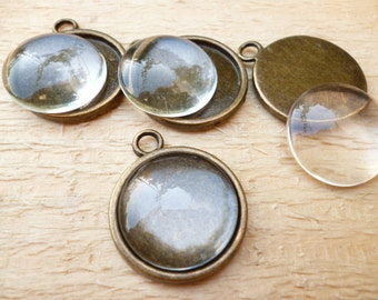 18mm Set Cameo with Glass Cabochon_Kit Round Brass Cameo _5+5 pcs