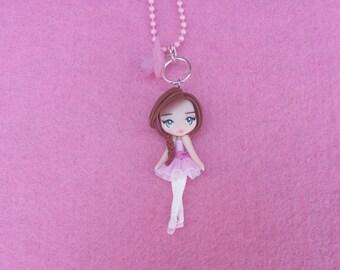 Ballerina Necklace fimo, polymer clay