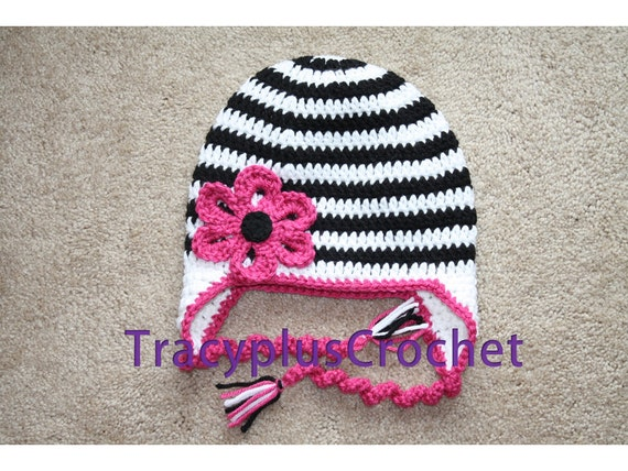 Crochet Zebra Hat : Crochet Zebra hat with flower and earflaps. Zebra stripe hat with ...