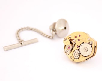 Gold Tie Tack Steampunk Tie Pin Watch Movement Rocker Necktie Gold Tie Pin Gifts for Men Tie Pin Formal Wear Accessories
