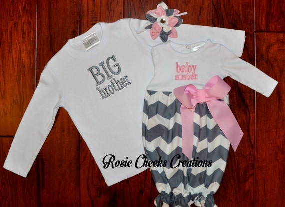 Big Brother Little Sister Baby Sister Gown Set Gray Grey