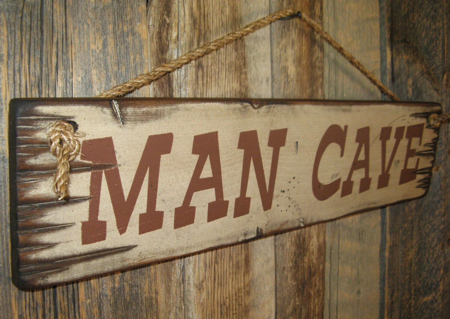 Man Cave Signs Wooden : Man cave antiqued wooden sign