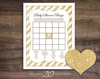 Instant Download Gold Glitter Baby Shower Games, Gold Glitter Bingo Game, Printable Glitter Baby Shower Bingo #55A