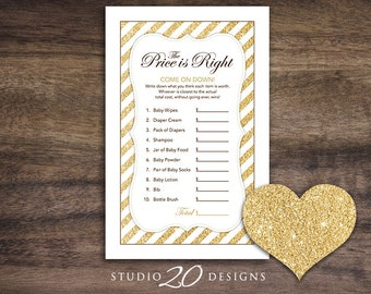 Instant Download Gold Glitter Baby Shower Games, Glitter The Price Is Right Game, Printable Baby Shower Price Is Right Game #55A