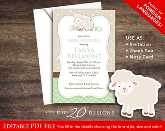 Instant Download Mint Green Lamb Baby Shower Invitations Editable Pdf, DIY  4x6 Printable Green Baby