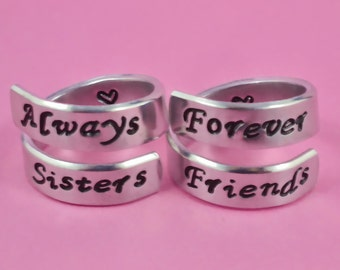 Always Sisters Forever Friends- Hand Stamped Aluminum wrap Ring Set, Best Friend BFF Match Pair Rings, Sorotity Sisters Personalized Gifts