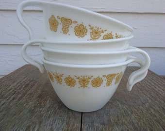 Mid-century Butterfly Gold Corning Cups