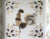 2 Rooster Trays ~Square metal vintage Maxey Co. white mid century serving trays    /0249