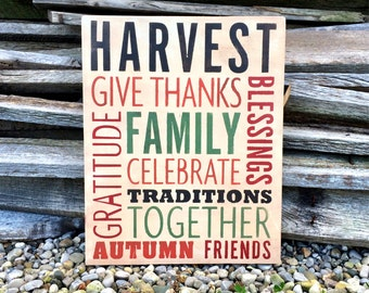 Harvest Sign /  Fall Decor/  Fall Sign / Give Thanks Sign / Family Sign / Harvest Decor / Thanksgiving Sign