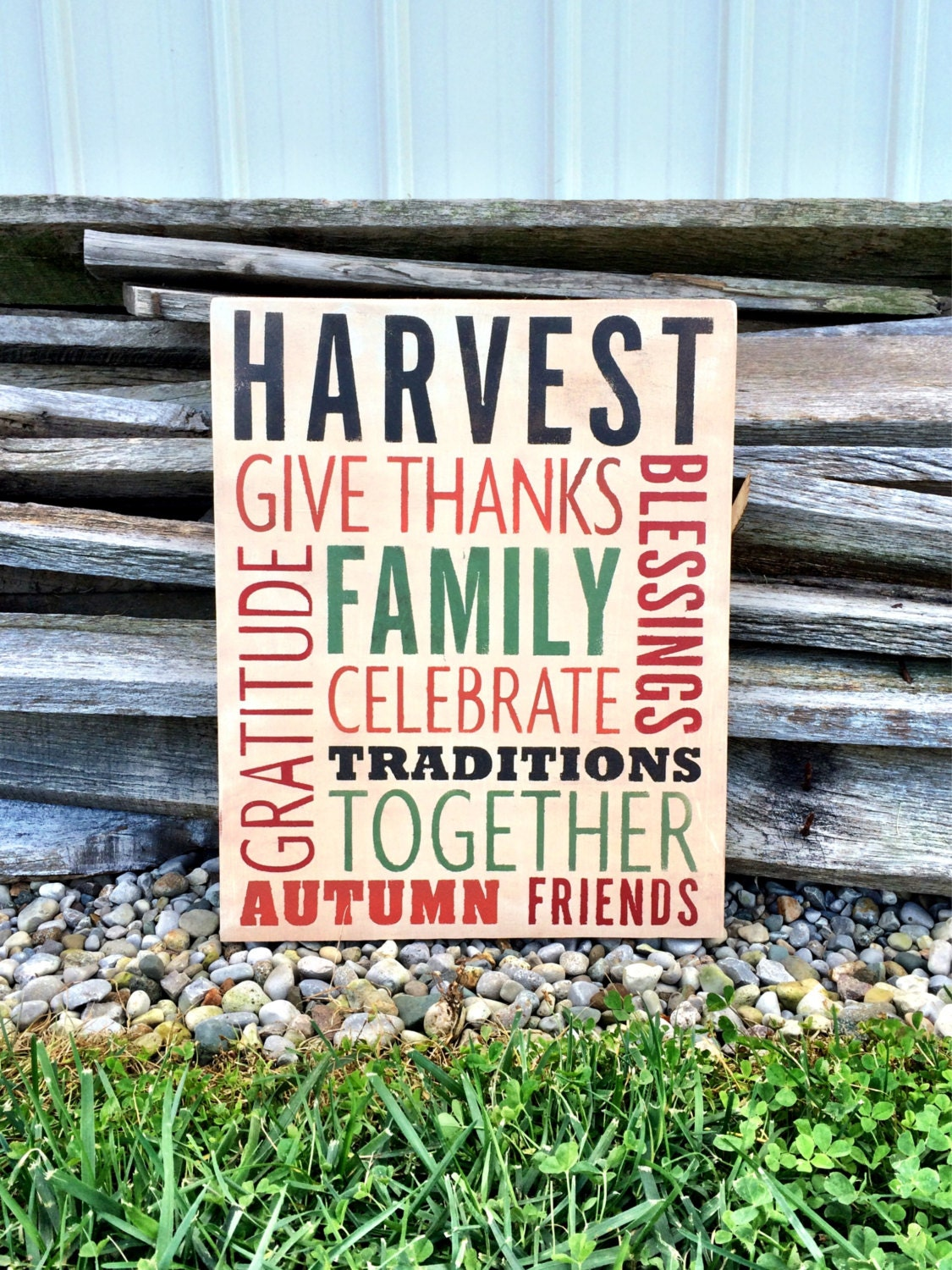Harvest Sign On Barnwood For Fall Front Porch Decor: Thanksgiving Decor / Fall Decor / Wall Decor / Harvest
