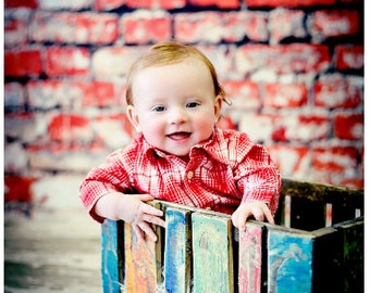 3ft x 3ft Red Brick Backdrop - Painted White Brick Photography Backdrop - Distressed Brick Back Drop – Item 1771