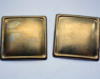 4 Vintage Brass Findings | Square Brass Stampings | 37 mm Brass Pieces