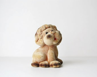 Soviet Vintage Toy Lion, Polymer Toy, USSR era 1970s, Soft Flocking Toy, Collectible Toy