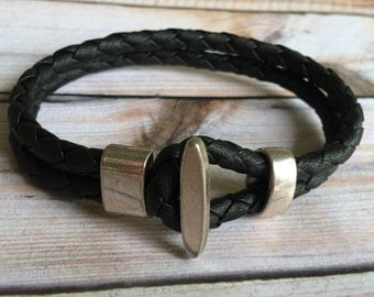 Black Braided Double Strand Leather Bracelet with Toggle Clasp, Leather Bangle, Silver Clasp and Black Leather, Men's Leather Bracelet