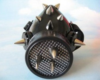 Black Mesh & Spikes Respirator cyber goth mask