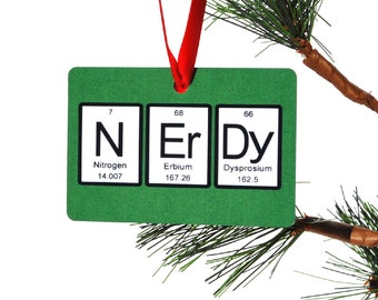 Nerdy Periodic Table Christmas Ornament