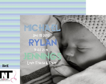 Printed Baby Announcements-Custom Baby Announcements-Stripes Notecard Design