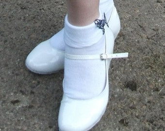 CLEARANCE White 50s Rock n Roll Jive Suede Sole Dance Shoes - UK Size 3
