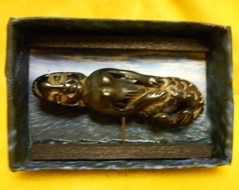 OOAK Handmade Miniature Oddities Fiji Mermaid Display Creepy Unusual Cute Matchbox Art