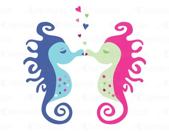 Seahorses Kissing Graphics, Kissing Seahorse, Commercial Use Clipart, Handmade, Scrapbooking, Invitations, T Shirts, Business Cards etc.