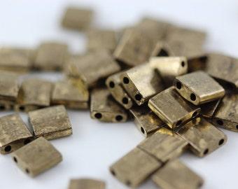 Dark Bronze Metallic,(TL457) 5x5mm square with (2) 0.8mm holes. Tila bead. You choose Quantity